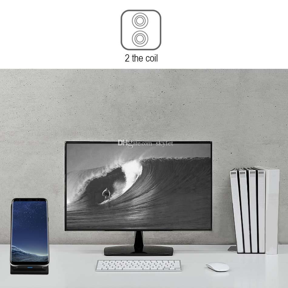 2 bobinas carregador sem fio para iphone x 8 8 plus qi sem fio rápido suporte de carregamento pad para samsung note 8 s8 s7 todos os smartphones qi-enabled