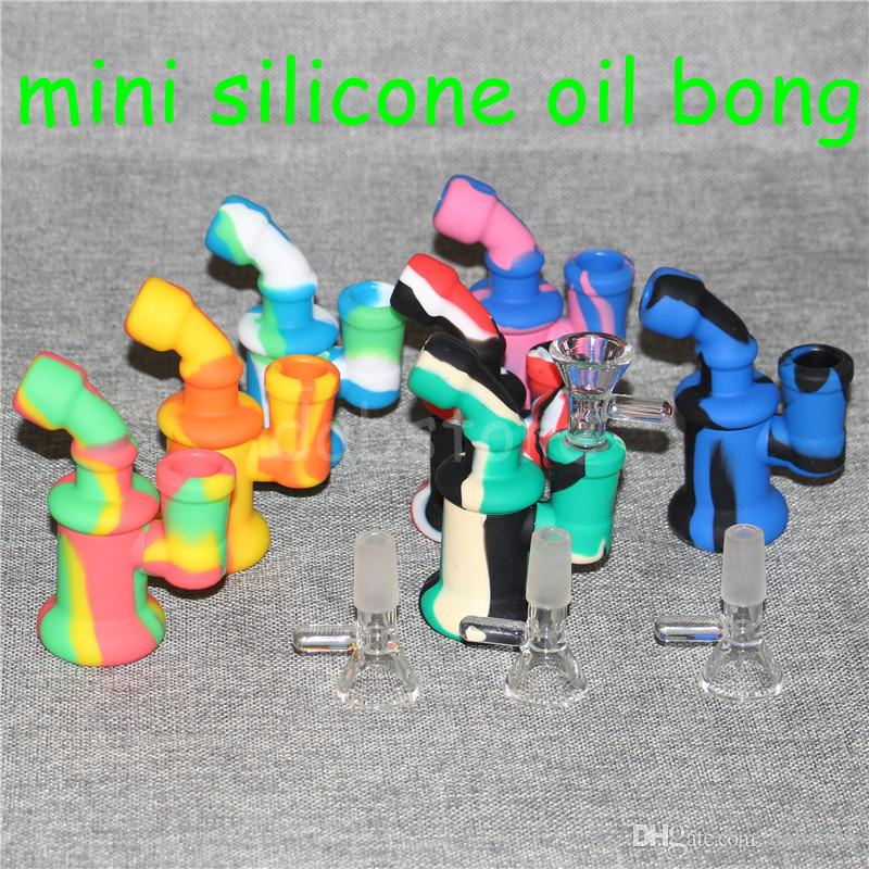 Silicone Oil Burner Bubbler water Bong pipe small burners pipes bubbler dab rigs Oil rig for smoking mini heady beaker Bongs
