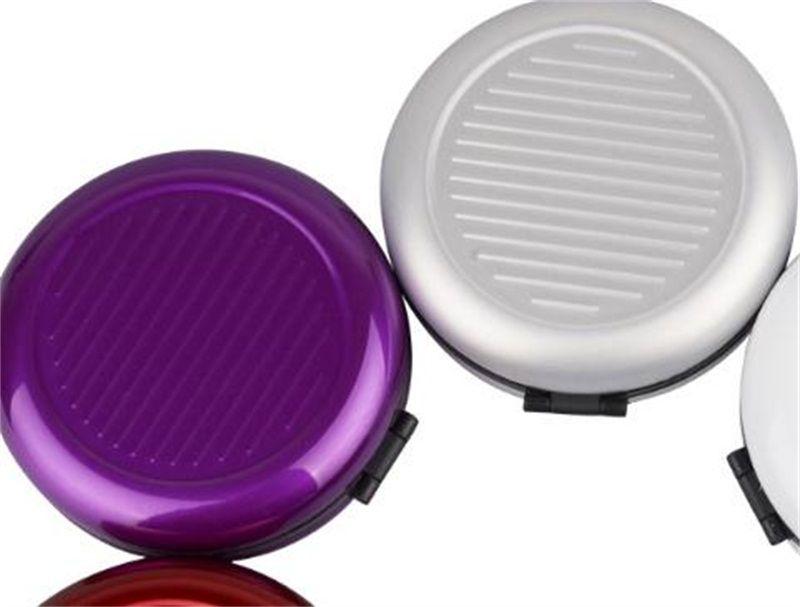 Specchio cosmetico colorato Nuova borsa in alluminio creativo Novità Scatola portaoggetti Euro portatile in monete Multi Color 5jt U