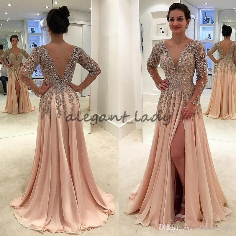 Blush Gorgeous Crystals Backless Dresses Evening Wear Deep V Neck Beaded Prom Gowns Floor Length A Line Chiffon Split Side Formal Dress