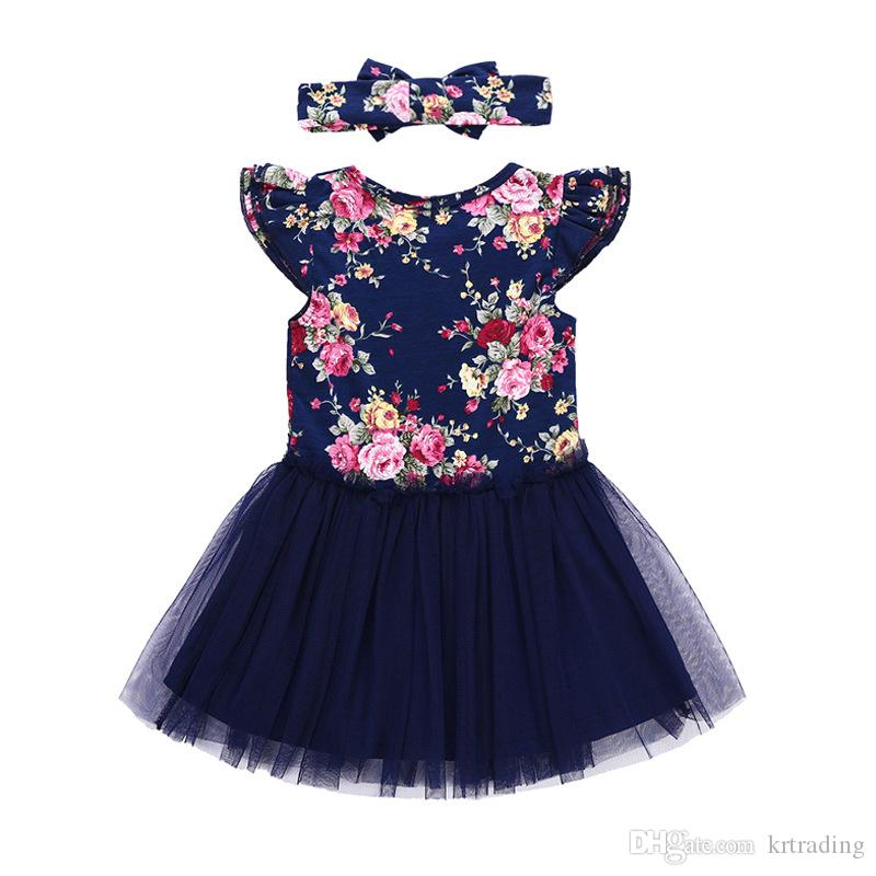 Girls floral dresses outfits set bow headband+flare short sleeve lace dresses baby kids flower skirt summer clothing