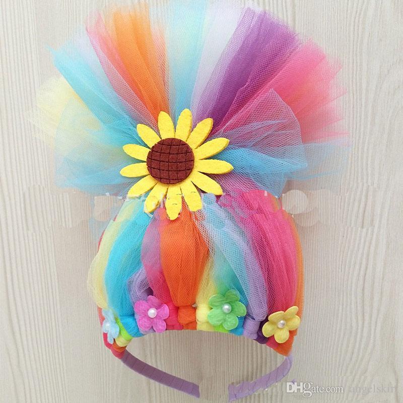 Diy Kids Unicorn Headband Rainbow Troll Wig Unicorn Horn Hairband