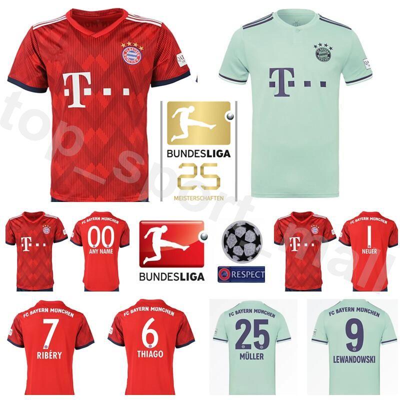 promo code 13a9e ed4fd FC Bayern Munich Soccer 1 NEUER Jersey Men Red Home Green 6 THIAGO 7 RIBERY  8 MARTINEZ 17 BOATENG Football Shirts Kits Uniform