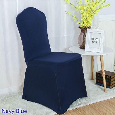 Acheter Housse De Chaise Spandex Bleu Marine Couleur Plat Avant