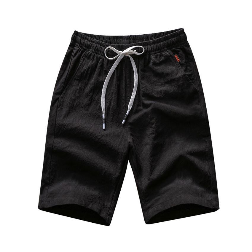 8ad5507d2d 2019 2018 Summer Cotton Casual Shorts Men Funny Beach Short Pants Fashion  Black Knee Short Drawstring Elastic Waist Shorts Male 4XL From Candd, ...