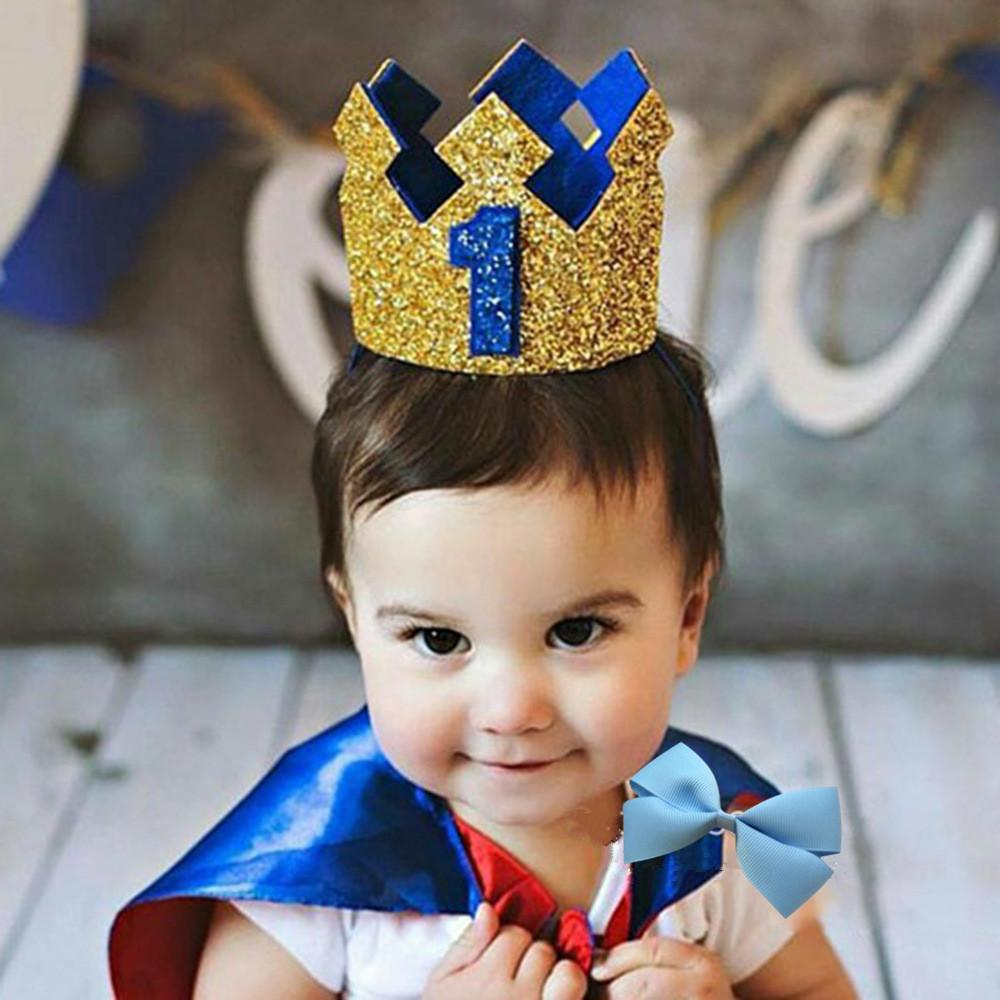 Boy Blue Gold First Birthday Hat Glitter Girl Pink Princess Crown Number 1st 2 3 Year Old Party Baby Shower Decor Headband Happy