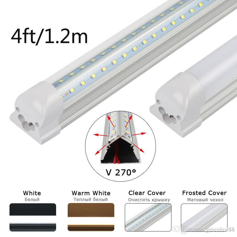 V Shaped Integrated 4ft T8 Led Tube 1200mm 20w 110v 220v Led Tube Light Fluorescent Lights Room Cooler Home Led Energy Saving Lamp Free Ship