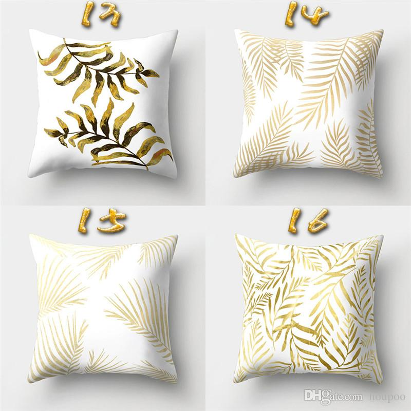40 Designs 4040cm Gold Pattern Relief Cushion Covers Linen Bedroom Custom How To Decorate A Bench With Pillows