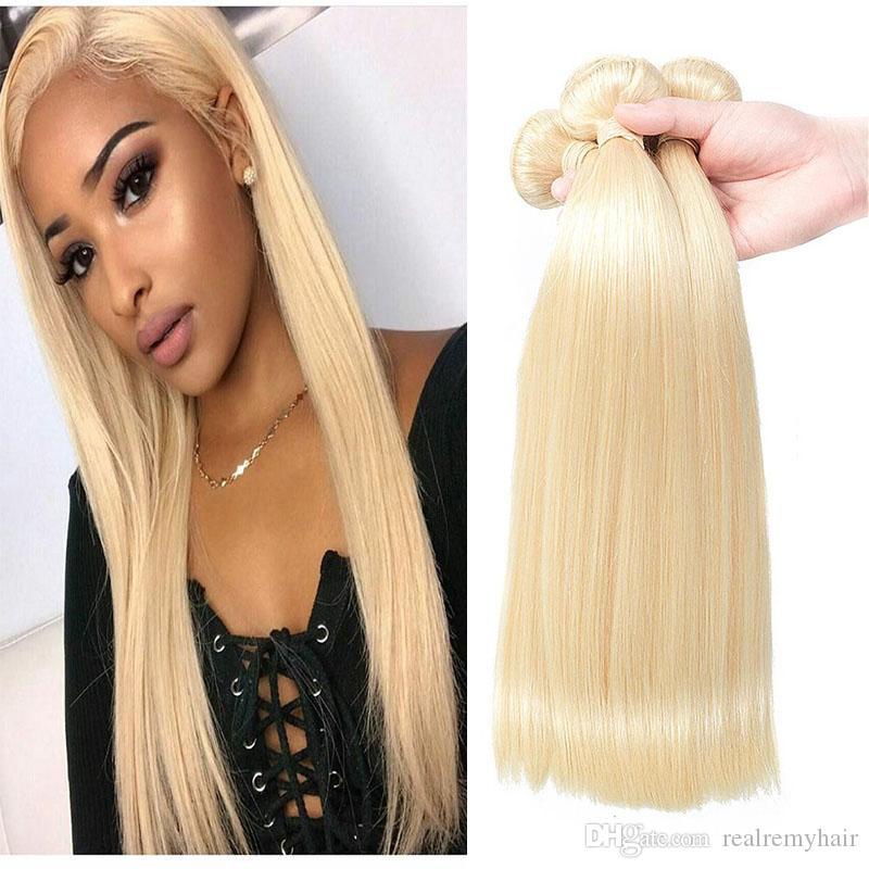 Brazilian Virgin Hair Weave Colored 613 Honey Blonde Human Hair