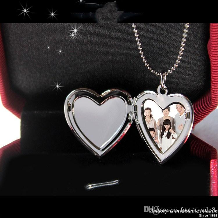 European and American fashion accessories DIY photo box wholesale new heart necklace spot alloy pendant, .