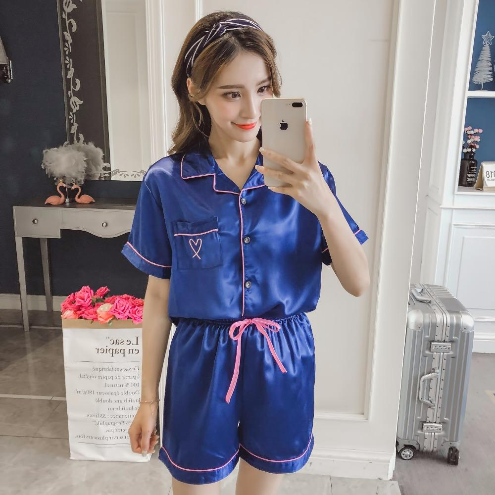2d94bc4fc0 2019 Sexy Women Silkly Night Wear Pajamas Ladies Short Sleeve Silk Satin  Blouse And Shorts Collar Neck M To XL Size From Oott