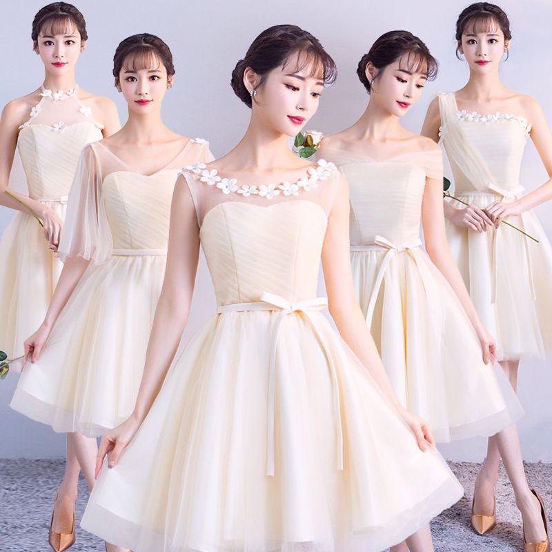 04298ffe40c3 Mingli Tengda Champagne Vestidos de dama de honor Cuello de barco corto  Fuera del hombro Vestido de damas de honor 2018 Fiesta de boda Vestido de  ...