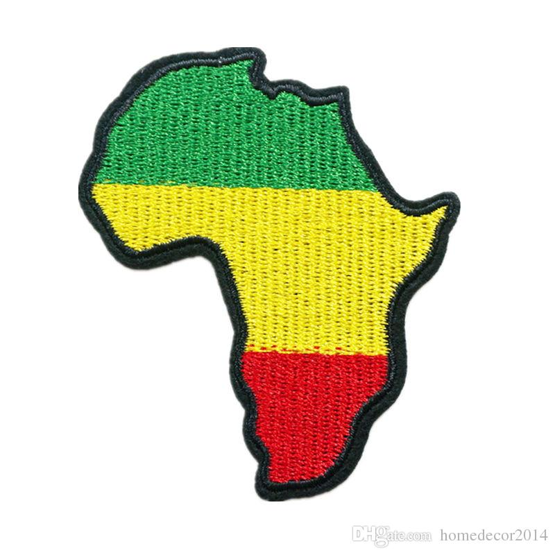 Embroidery Patch Africa Domain Map Sew Iron On Embroidered Patches Badges For Bag Jeans Hat T Shirt DIY Appliques Craft Decoration