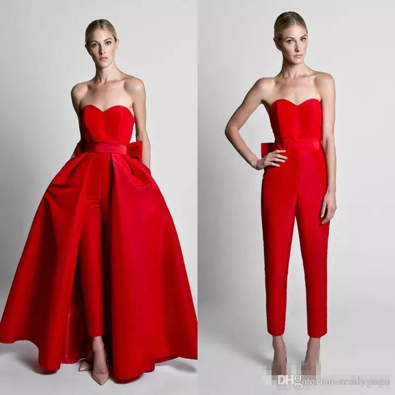 Krikor Jabotian prom dress Jumpsuit Red Silk Satin Bow Back With Detachable Skirt New Sweetheart Neck evening jumpsuit with train