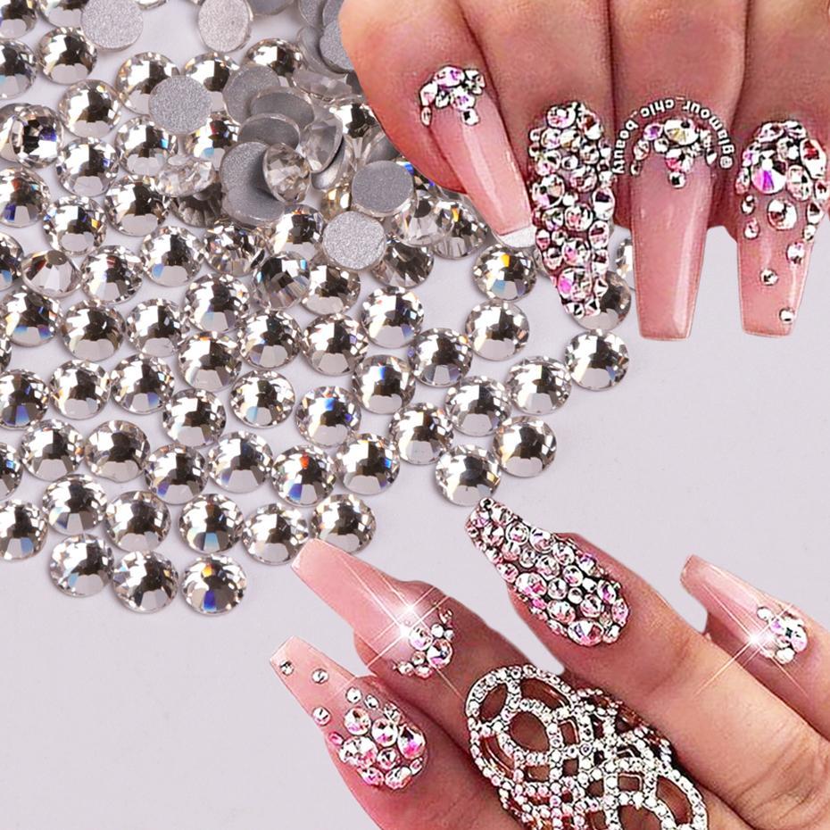 cbae41e6a54 Acheter Nail Crystal Blanc Strass Argent Base En Verre Dos Plat 3D Charme  Diamant Pierre Perles De Paillettes Nail Art Décoration TR541 De  34.07 Du  ...