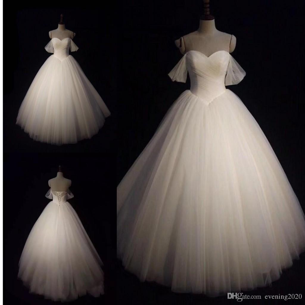 a38be0ea94d 2018 Tulle Ball Gown Wedding Dresses Sweetheart Off Shoulder Lace Up Bridal  Dresses Fashion Wedding Gowns Affordable Wedding Dresses Black Wedding Dress  ...