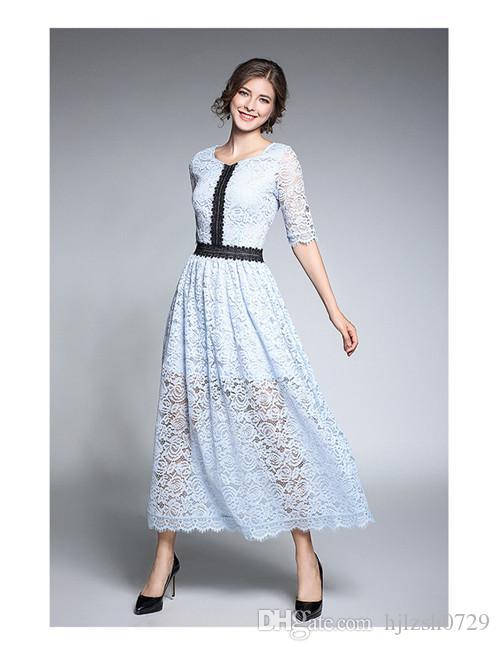 eaece03dc 2018 otoño nueva mujer madura elegante temperamento delgado falda larga  costura cremallera calado encaje vestido medio cintura cuello redondo gran  ...