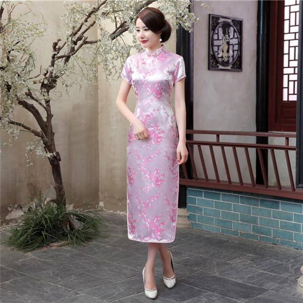 37b7b737affd8 Summer New Female Slim Above Ankle Cheongsam Flower Chinese Classic ...