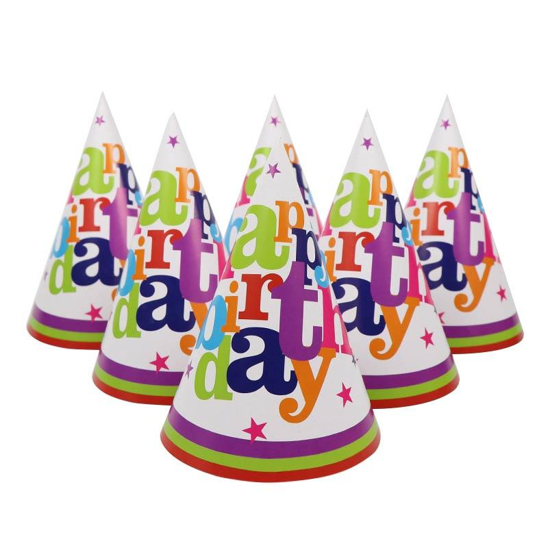 58c3f300284 Happy Birthday Theme Paper Party Hats For Kids Favors Happy Birthday ...