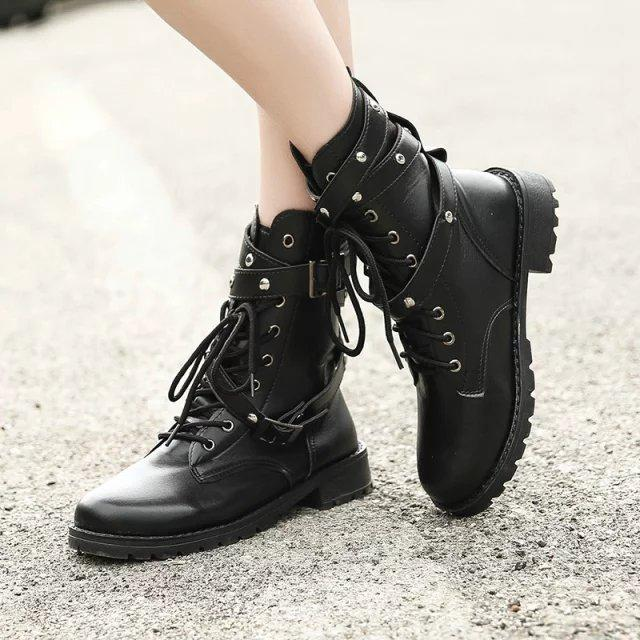 3b6d247acce 2018 Motorcycle Boots Ladies Vintage Combat Autumn Boots Army Punk Goth  Women Women Biker PU Leather Short Ankle Booties Combat Boots For Women  From ...