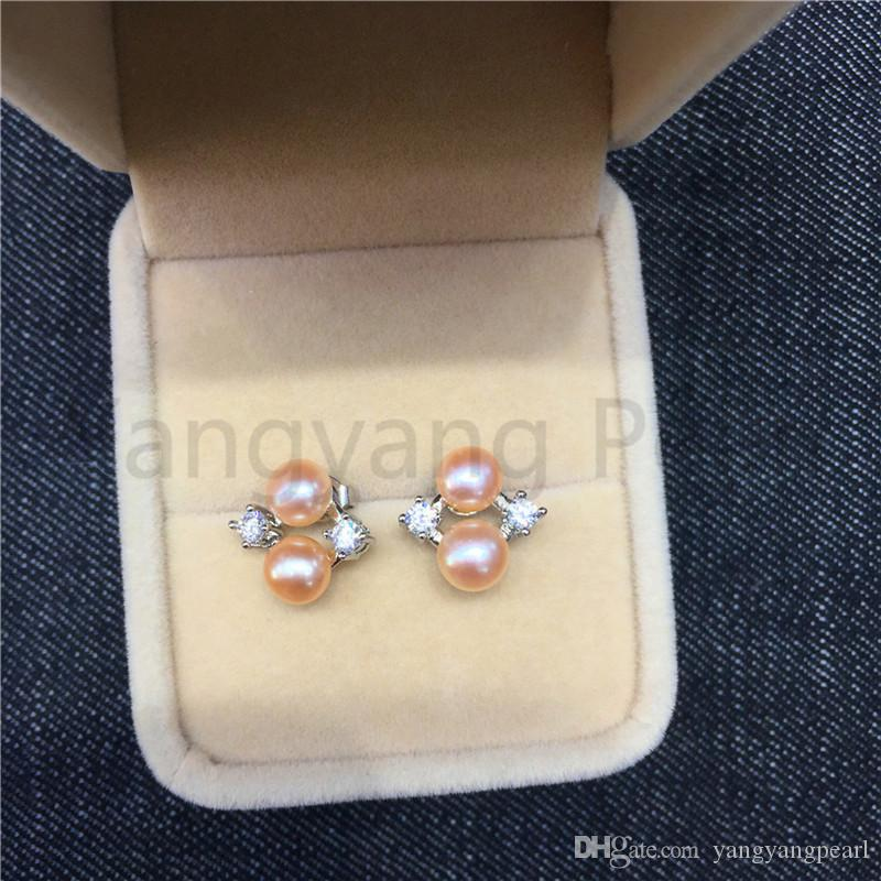 925 Silver Material Pearl Stud Earrings Orange/White Steamed Bread Pearl Gold/Silver Earring Beautiful Jewelry Gift For Women Free Shipping