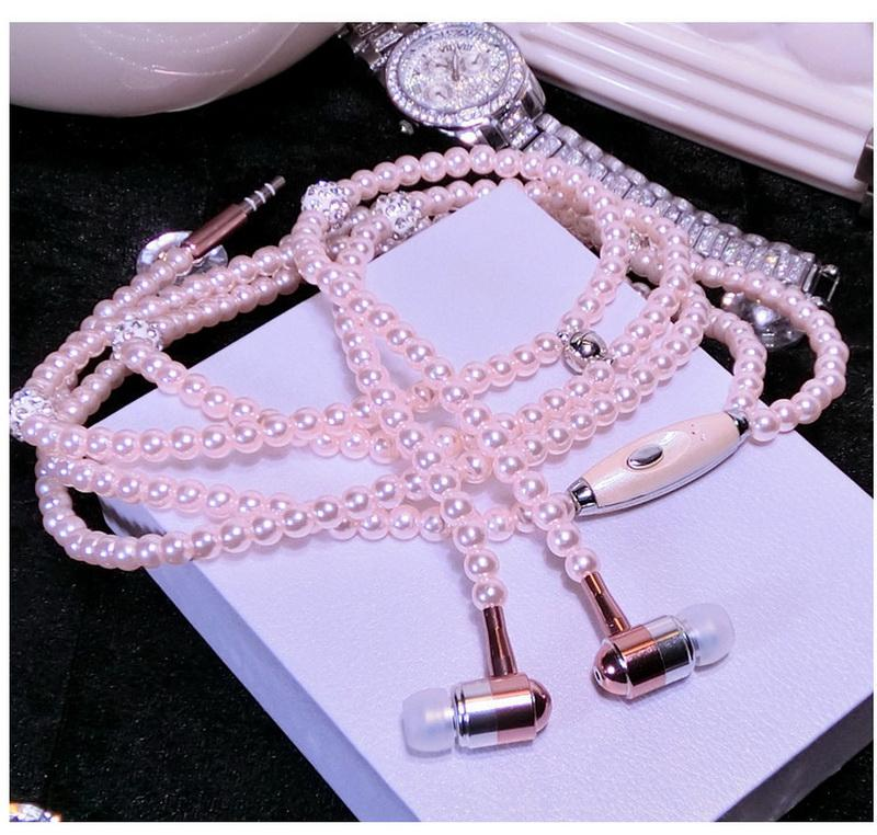 Fashional Pearl Necklace Earphones With Mic 3.5mm Pink Girl Rhinestone Jewelry Diamond Phone Earbuds Headphone MP3 For IPhone HuaWei XiaoMi