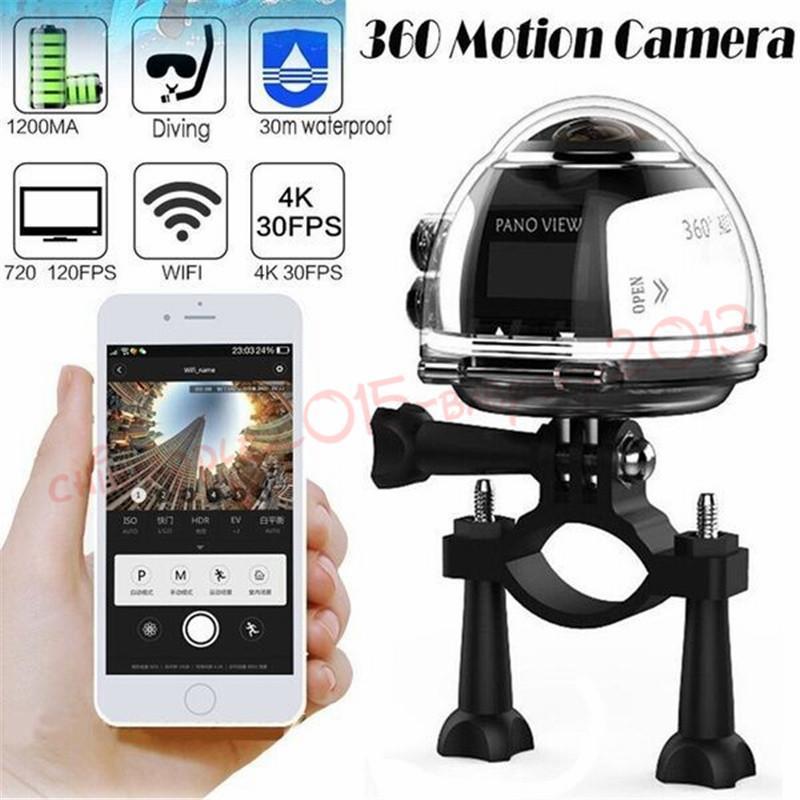 Yeni V1 360 derece panoramik spor kamera mini 3D wifi spor DV 4 K tam HD 30 m su geçirmez açık eylem video kameralar Perakende Paketi Ile