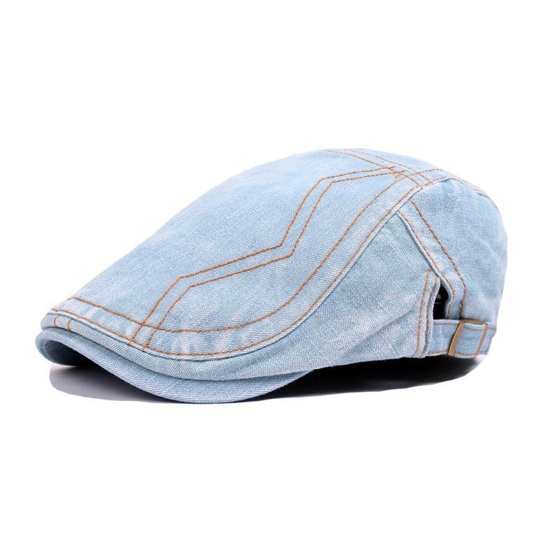 01c82bf074c 2019 Spring Summer Cowboy Outdoor Adjustable Beret Denim Beret Caps Bones  Flat Sun Cap For Cowboy Jeans Hats For Men From Shanqingmou