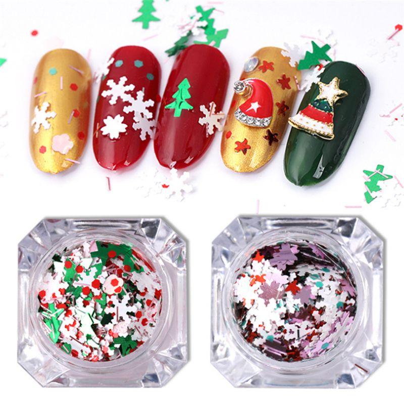 1 Boxes Christmas Snowflakes Tree Nail Sequins Chrome Flakies Nail ...