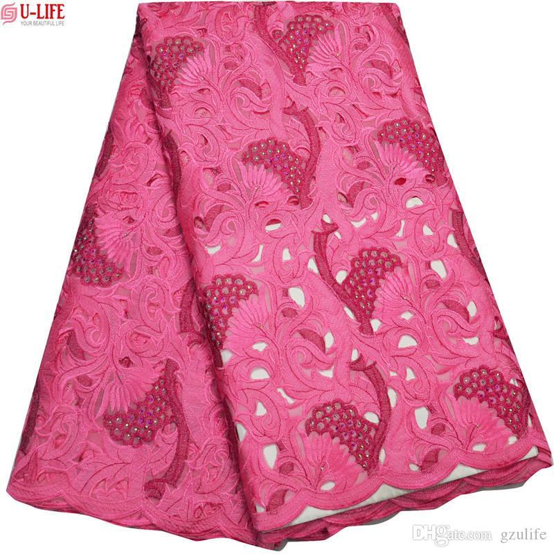 Haute Qualité Suisse Lacets En Voile De Coton Suisse Nouvelle Arrivée 2018 Dentelle Taillée À La Main Tissus Femmes Femmes Africaines Robes De Soirée BG-105