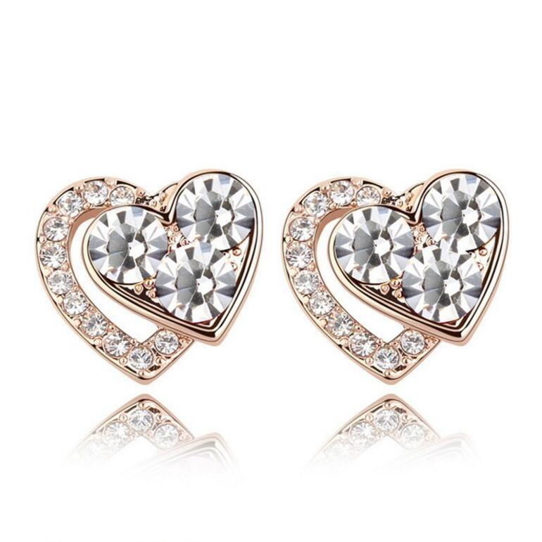 Wholesale Heart Earring For Girl Crystal Stud Earrings Geometric Rhinestone Minimalist For Women Jewelry