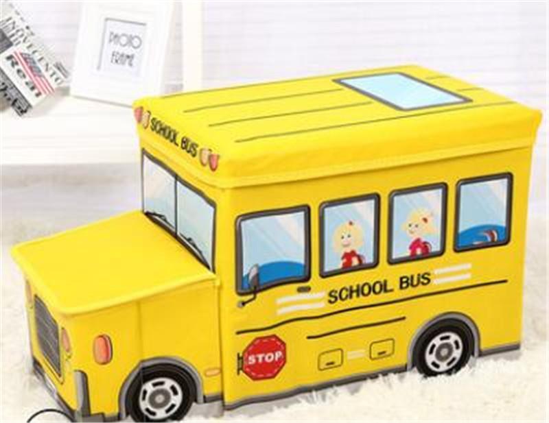 Acheter Stockage De Jouets Enfants Dessin Animé De Rangement Chaise Autobus Scolaire Modèle Multi Fonction Boîte De Rangement Pliable Tabouret