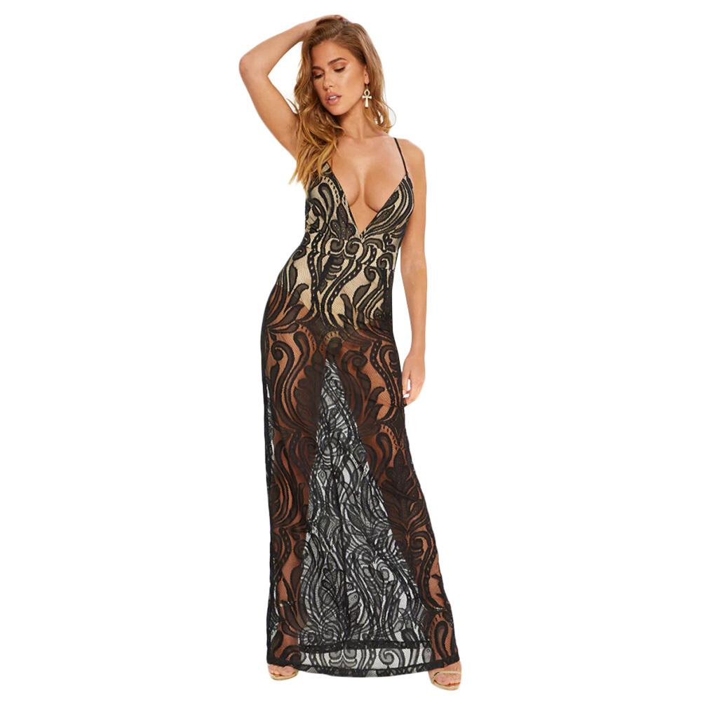 7f793fa5d4a65 Sexy Women Maxi Dress Lace Hollow Out Deep V Neck Sleeveless Spaghetti  Strap Slim Long Dress Black/White Sheer Mesh Beach Dress Dress Women Floral  Sundress ...