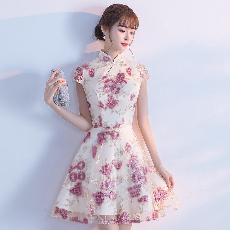 f5f3630e8e04a 2019 New Purple Traditional Chinese Dress Qipao Ladies Evening Dresses  Vintage Cheongsam Women Bride Short Cheongsam Modern Dress From  Fitzgerald10