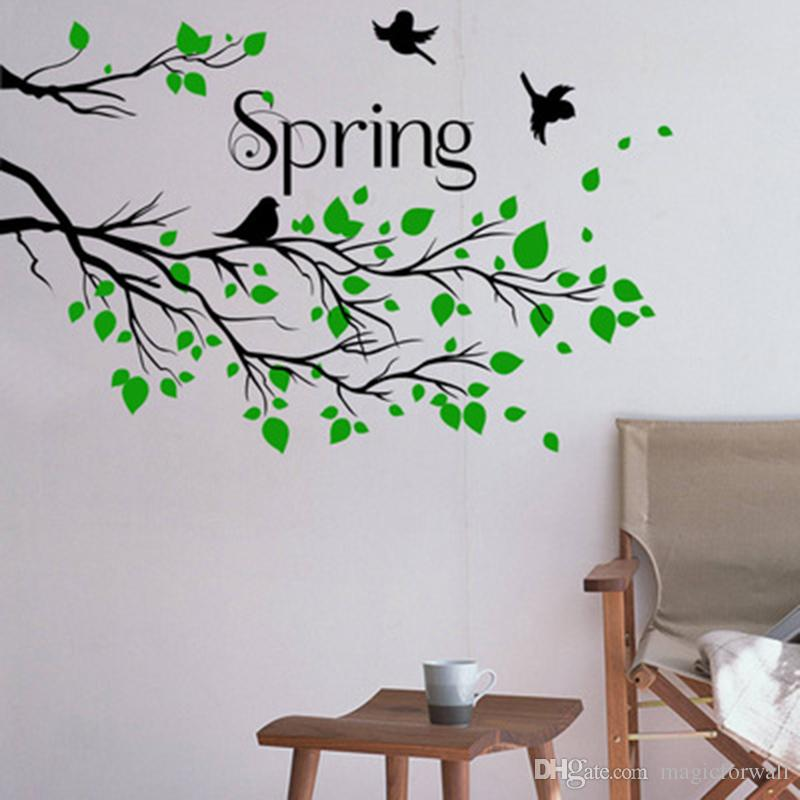 Black Tree Branches with Green Leaves Flying Birds Wall Decal Home Decor Living Room Bedroom Hallway Decoration Wall Mural Poster Stickers