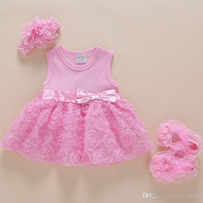 Korean style summer baby girl dress party princess dress outfit infant rose flower lace dresses set with headband and shoes