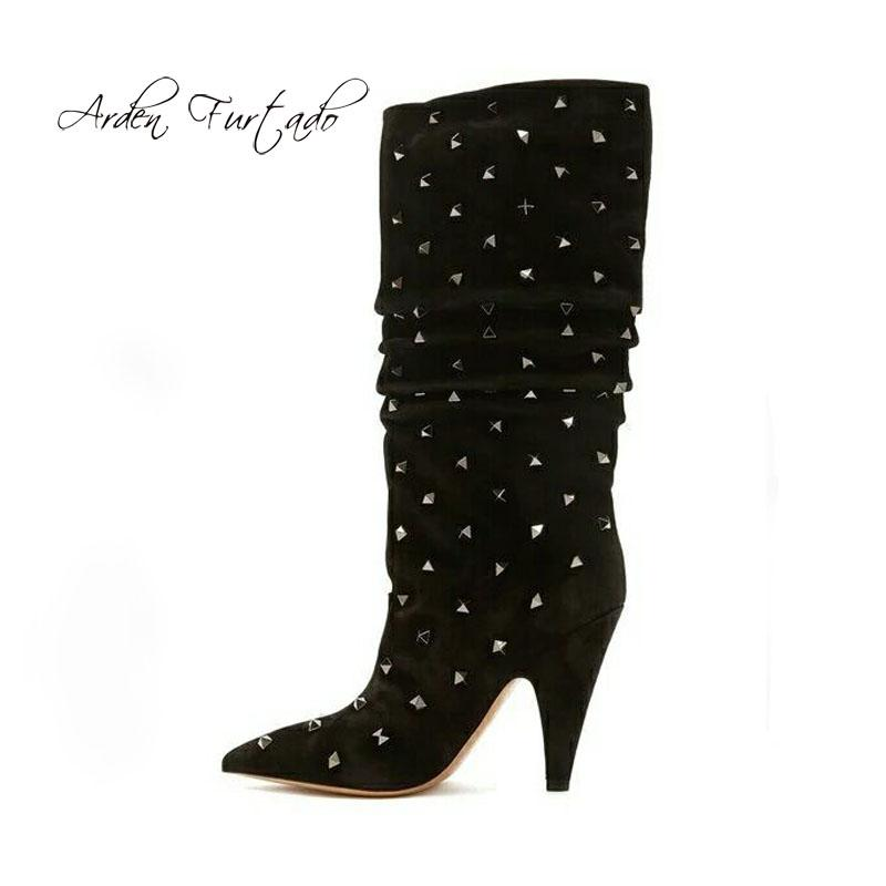 noir talon rivets bottes bottes aiguilles talons à cône 2018 haute daim plissé pointes talons femme d'hiver genou de mode bottes en txBdhQrsC