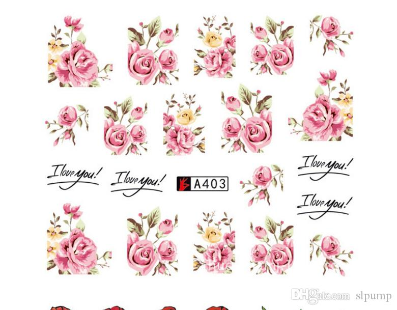 50 Sheets Set Mixed Flower Water Transfer Nail Stickers Decals Art Tips Decoration Manicure Stickers Ongles