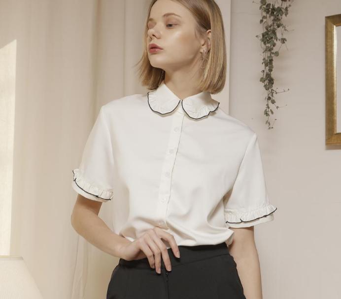 Großhandel Elandend Style Fashion Damen Kurzarm Shirt Rüschen Kragen Weiß  Bluse Cute Blue Sommer Neue 2017 Harajuku Stil Von Dreamcloth,  28.54 Auf  De. 01a4ef26df