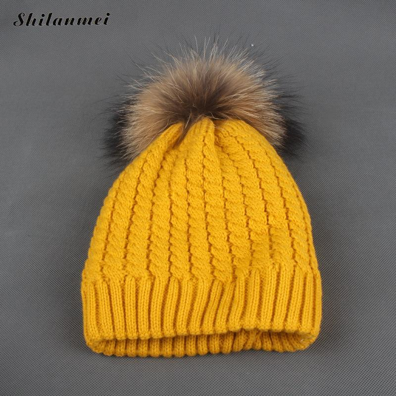 7402e681812dd 2017 Winter Fur Hat For Women Ladies Knit Beanie Winter Hat Fur Pom Pom  Knitted Hats Raccoon Female Pink Yellow Straw Hats Crochet Hat From Jutie