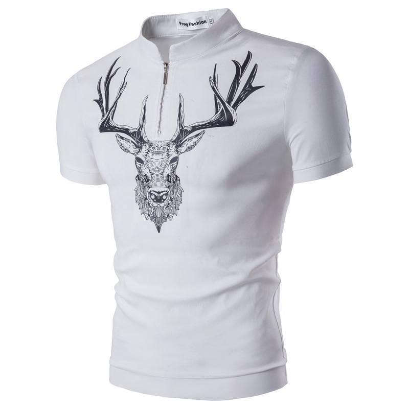 Polo Cerf Imprimé Shirt Blanc Noir Homme Acheter4153 Zippé Col IEHD92