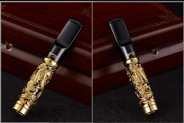 ZOBO Gold Plated Cigarette Holder Luxurious Carved Dragon Metal Pull Rod Cigarette Holder