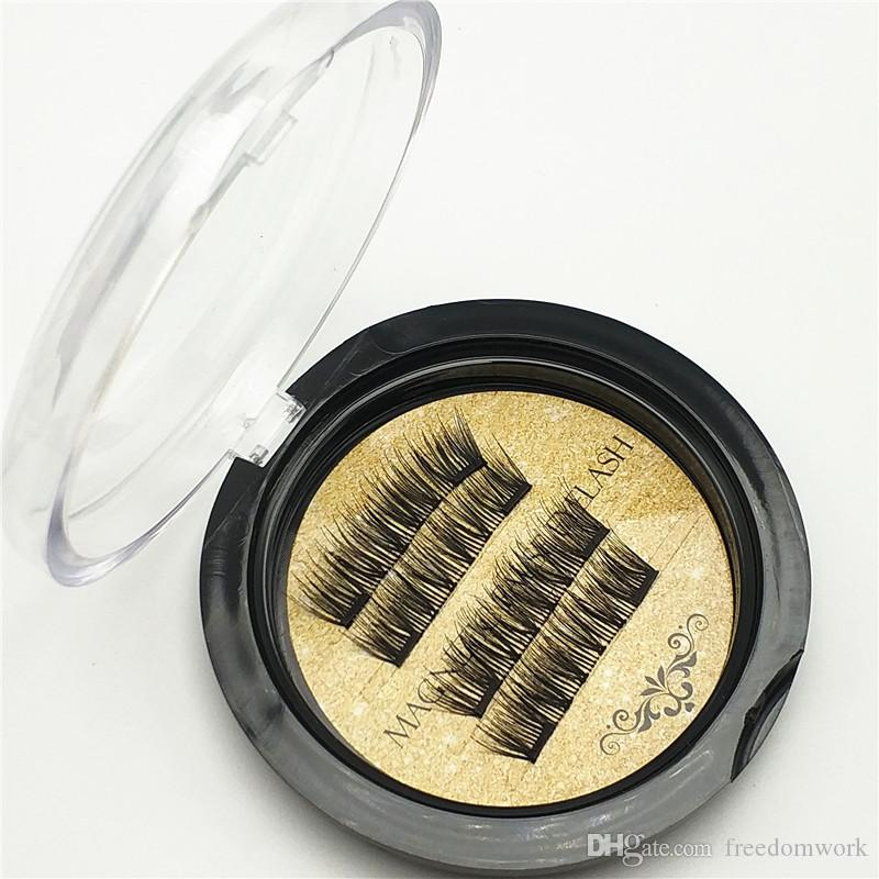 Best quality Gold Double Magnetic Lashes 3D Mink Reusable Fasle Eyelash Without Glue 4pcs=1pairs epacket free Shipping