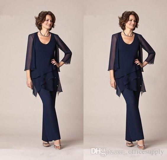 e8f30d4b987 Dark Navy Blue Chiffon Three Pieces Mother of the Bride Pant Suits ...