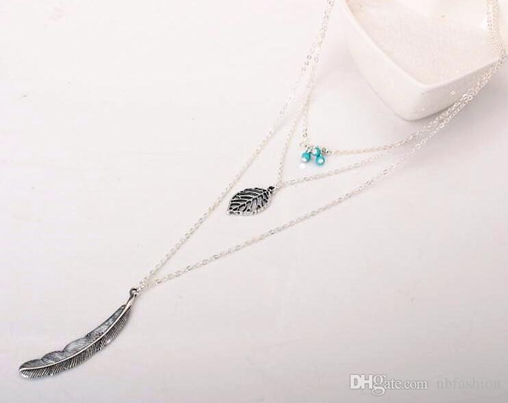 Noble 2018 New Fashion Feather Necklace Leaf Layer 3 Necklace Multilayer Necklaces Women/>=DHL