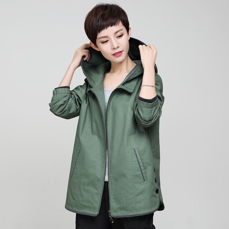 YAGENZ Autumn Spring Middle Age Women Casual Hooded Windbreaker Coat 2017 New Middle-aged Mother Trench Coat Large Size Clothes
