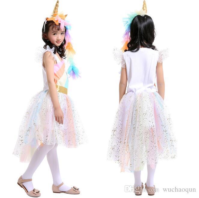 Abbigliamento Cosplay bambini Neonate Unicorno Arcobaleno vestito bambini pizzo Tutu principessa abito Tute con 1 fascia unicorno + 1 ali d'oro