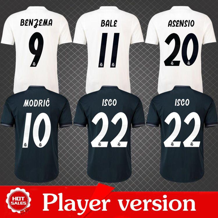 Compre Versão Do Jogador 2019 Real Madrid Futebol Jersey 2018 19 Casa  Branca Fora Balck Camisa De Futebol Asensio SERGIO RAMOS Customized Football  Uniform ... ed145b92c67