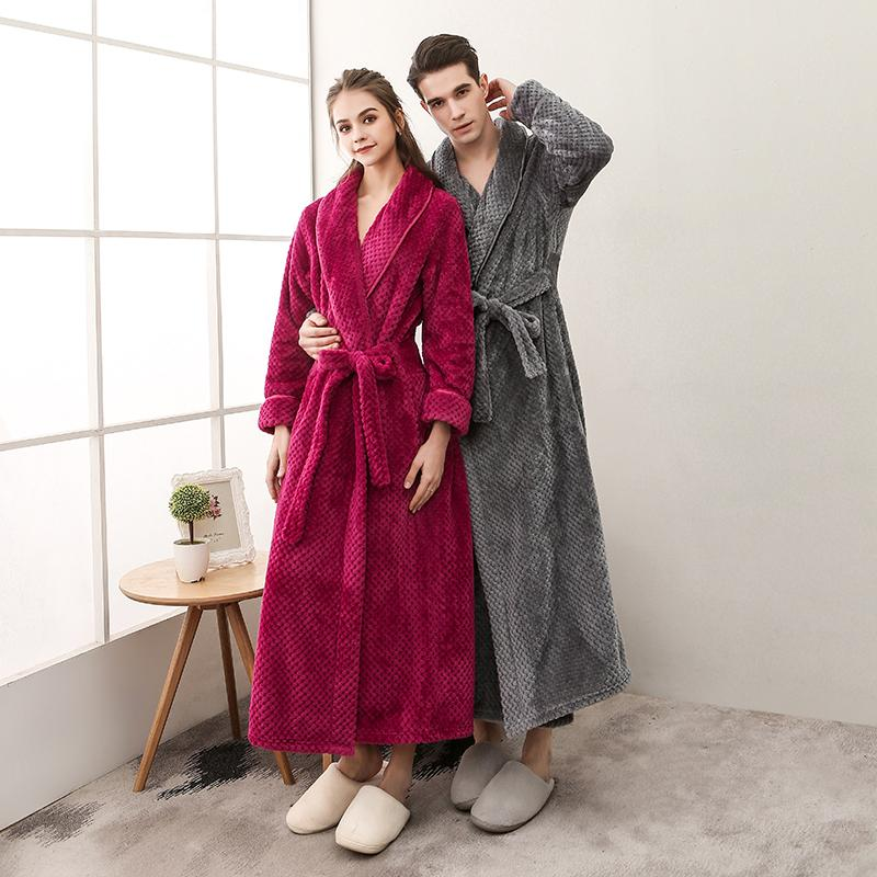 f87af05a09 2019 Men Long Dressing Gown Winter Solid Flannel Robes Thick Waffle Coral  Fleece Bath Robe Plus Size XXXL Couples Sleepwear For Women From  Sweatcloth