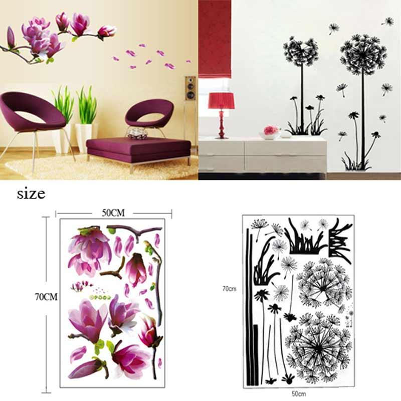 Tv Wall Stickers 3d Flying Dandelion Home Decor Magnolia Flower Wall